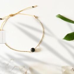 Bracelet Tourmaline noire plaqué or 18k