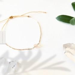 Bracelet Pierre de lune plaqué or 18k
