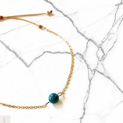 Bracelet Apatite bleue plaqué or 18k