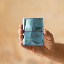 Porte cartes en cuir bleu céruléen