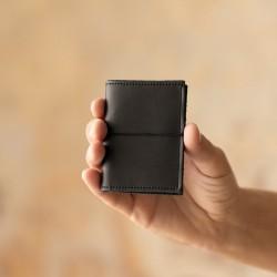 Porte cartes en cuir noir