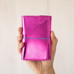 Pocket organizer en cuir magenta
